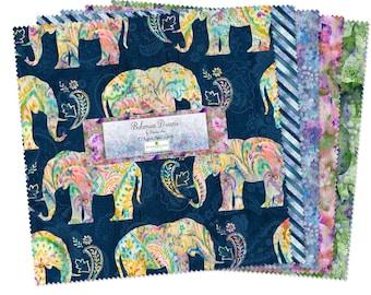 Bohemian Dreams Fabric - Boho Paisley - Elephant - Danhui Nai for Wilmington Prints - 543-518 10-Inch Fabric Bundle Squares