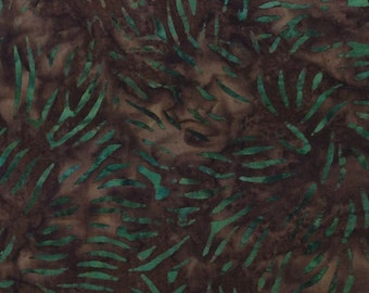 Grass Blade Batik Fabric - Artisan Indonesian from Majestic Batiks - CB 303 Green Brown, Priced by the 1/2 yard