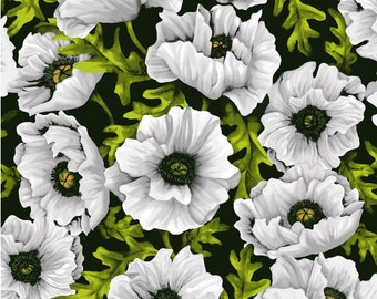 Summer Floral - Poppy Poetry Collection - Cedar West for Clothworks - Y2658 White - Priced by the 1/2 yard