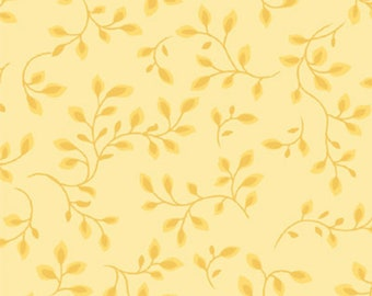 Wide Back Quilt Back 108 Inch - Floral Spray Fabric - Henry Glass 7882-03 Folio Pale Yellow - Priced by the Yard