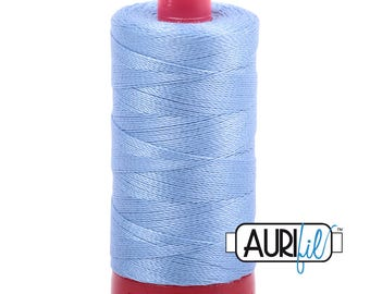 Aurifil 12wt Thread - Cotton Embroidery & Quilting Thread 12 wt - 100% cotton - Light Blue Delft 2720