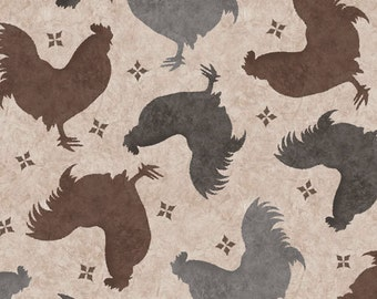 Rooster Fabric - Color Bakery Bon Jour Tossed Roosters - Quilting Treasures 23906 A - Taupe - Priced by the 1/2 yard