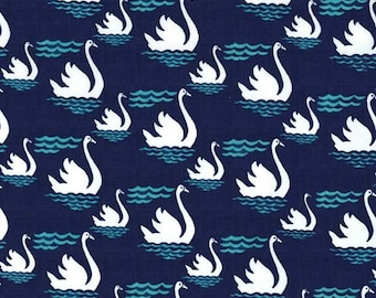 Swan Fabric - Michael Miller Fabric - Bird Fabric - PC 6286 Teal - Priced by the Half yard