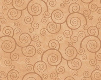 Harmony Blender Fabric - Curly Scroll by Quilting Treasures 24778 EA Camel  - Priced by the 1/2 yard
