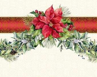 Holly & Evergreen Garland Border - swag border - Poinsettia Winter - Christmas Fabric - In The Beginning - 2APW 1 - Priced by the 1/2 yard