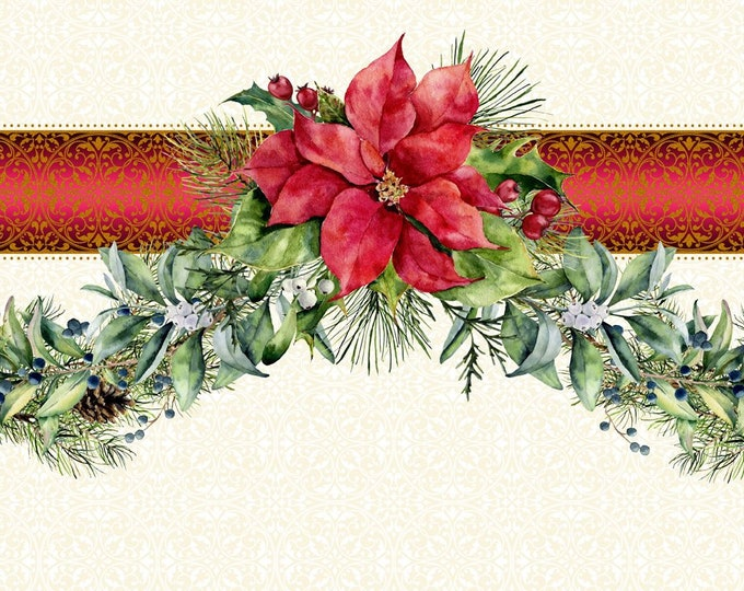 Featured listing image: Holly & Evergreen Garland Border - swag border - Poinsettia Winter - Christmas Fabric - In The Beginning - 2APW 1 - Priced by the 1/2 yard