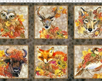 Autumn Fabric - Animal Patch Panel  - Our Autumn Friends - In The Beginning Jason Yenter 1OAF 1 - Priced by the 24-Inch Panel