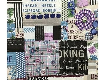 Yuwa Fabric, Fifties Sewing, Wonderful Scrap - Suzuko Koseki 826152 D - Blue Purple Gray - Priced by the 1/2 yard