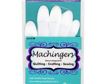 Machine Quilting Grip Gloves - Machingers Quilters Touch - Choose Size - White