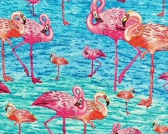 Flamingo Fabric - Birds of a Feather Paintbrush Studio Fabric - 120 681 Blue -  Priced by the half yard