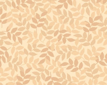 Harmony Blender Fabric - Leaf Fabric by Quilting Treasures 24777 E Sand Tan - Priced by the 1/2 yard