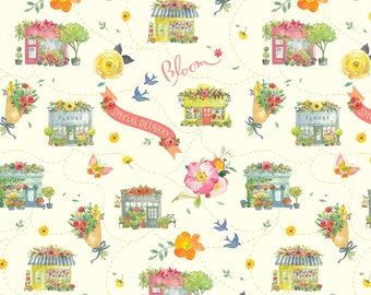 Floral Fabric - Flower Market - Chelsea Columbia Road - Brenda Walton - Blend Fabrics 123 104 02 1 Ivory - Priced by the 1/2 yard