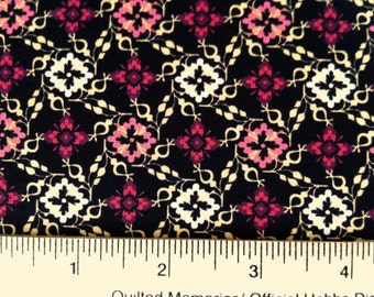 Closeout - Geometric Floral Fabric - Tiny Floral in Black from Aubrey by Studio E Fabrics 1724 99 - Sold by the yard