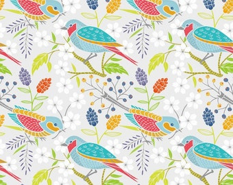 Bird Fabric - Blue Bird - Doodle Blossom - In The Beginning Studio 4DB1 - Priced by the 1/2 yard
