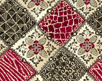 Maya - Floral Patchwork by Studio 8 for Quilting Treasures 24016 M - Black Magenta - Priced by the 1/2 yard