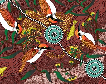 Australian Fabric - Bird Print - Aboriginal Fabric - Nambooka -  Kingfisher - Red - Priced by the half yard