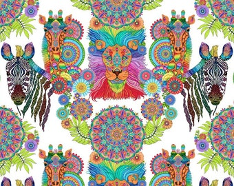 Safari So Goodie - Large Safari Animals Bright Floral -  Wilmington Prints Fabric - 77628-183 - Priced BY THE YARD