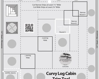 Curvy Log Cabin 8-InchTrim Ruler - Creative Grids by Jean Ann Wright CGRJAW5 - Acrylic