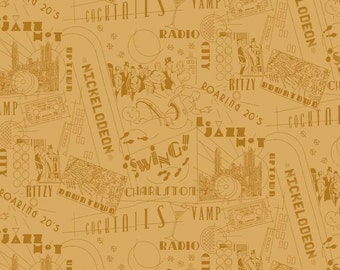 Great Gatsby Type Fabric - Jazz Terms / Scenes - Roaring 20's - by Henley Studio for Makower UK TP 1168 Y - Priced by the 1/2 yard