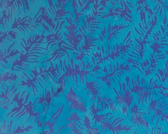 Small Fern Batik Fabric - Artisan Indonesian from Majestic Batiks - D 315 W Blue, Priced by the 1/2 yard