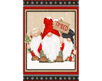 Timber Gnomies Panel - Shelly Comiskey for Henry Glass 9277P 89 - Priced by the 24-Inch panel