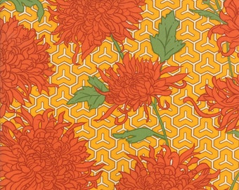 Dahlia Flower Fabric - Dahlia Fabric from Lush Uptown by Erin Michaels for Moda Fabrics 26021 25 Marigold - Priced by the 1/2 yard