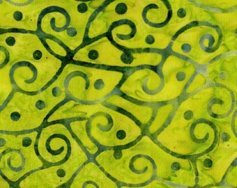Amazon Batik Fabric - Swirl Scrollwork - Blank Quilting - 9223 60 Green - Priced by the half yard