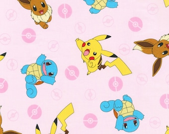 Pokémon - Tossed Character - Pikachu Eevee Squirtle - Kaufman AOQ 744 196 Pink - Priced by the half yard