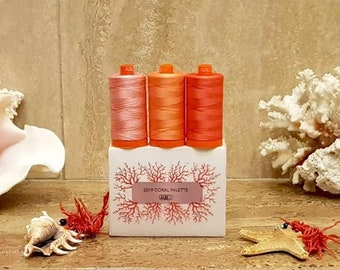 Living Coral Thread - Aurifil 50wt thread - 3 Spools - Pantone Color 2019 -  50wt Mako, 1422 yards