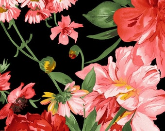 Prose Mixed Floral - Large Peony Floral Maywood Studio - MAS 9650 J Black - Priced by the 1/2 yard