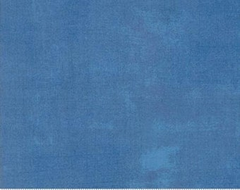 Blue Textured Fabric - Delft Grunge by BasicGrey for Moda Fabrics 30150 350 Medium Blue - Priced by the 1/2 yard