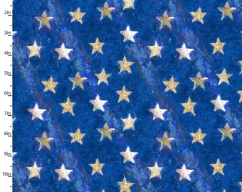 American Icon Fabric - Royal Star - Star Fabric -  From 3 Wishes Fabric  by Connie Haley 14500 Blue - Priced by the 1/2 yard