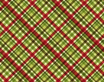 Christmas Plaid - Poinsettia Winter - Christmas Fabric - In The Beginning - 10APW 1 Green - Priced by the 1/2 yard