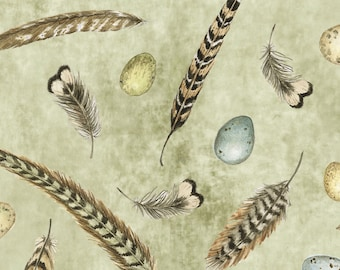 Feather & Eggs - Keys To The Garden by Susan Winget Collection for Springs Creative - 58773 6470715 Sage - Priced by the 1/2 yard