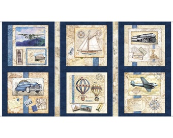"Wanderlust - Travel panel - Vintage Travel - Dan Morris for Quilting Treasures - Panel 44""x24"" Horizontal 26719 Navy"