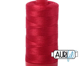 Aurifil 12wt Thread - Cotton Embroidery & Quilting Thread 12 wt - 100% cotton - Red 2250