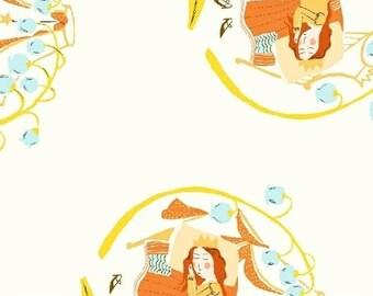 Heather Ross Fabric - Far Far Away 2 -  Sleeping Beauty - Windham Fabrics - 51198 3 White - Priced by the Half Yard