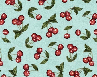 Cherry Fabric - Tossed Cherries - Home Sweet Home Dan Morris - Quilting Treasures 26330 Aqua - Priced by the 1/2 yard
