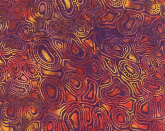 Purple Batik Fabric - Catalina Batik for Moda Fabrics - Sunset 4329 20 - Priced by the 1/2 yard
