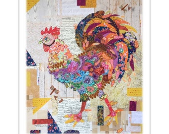 "Rooster Doodle Do -  Laura Heine pattern - Applique Quilt - 35""x42""  DIY Pattern Or Kit Option - full size reusable template pattern"