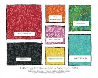 Batik Fabric - Quiltessentials: Botanicals 401Q - Tulip Design - Choose color -  Priced by the 1/2 yard