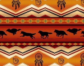 Tucson Stripe, Wolf Stripe, Dream Catcher, Southwest Fabric by Elizabeth Studio 556 Terra Cotta - Priced by the half yard