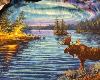 Moose Fabric - Aurora Borealis  fabric, Night Lights, Northern Lights - Landscape Medley Elizabeth Studio - 9600 - Panel 36-Inch