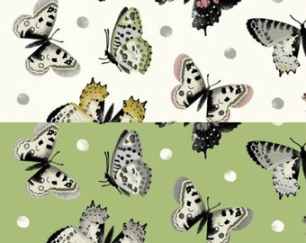 Butterfly Fabric - Salon Fleur by Studio Frivolite for Studio e -  3635 Choose White or Green Background - Priced by the 1/2 yard