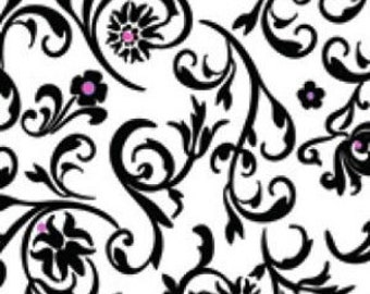Black & White Fabric -  Fuchsia Floral Flourish Natural Graffiti by Ellen Medlock 908 - Priced by the 1/2 yard