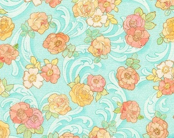 Rose Garden Fabric - The Flowers Alphonse Mucha 1898 - Kaufman Fabrics - SRKD-18192-44 Blue Swirl - Priced by the half yard