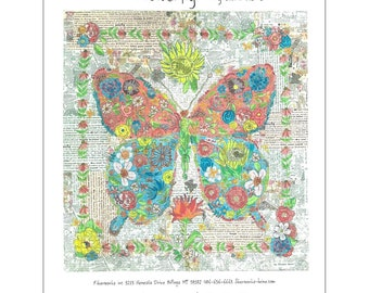 "Butterfly Collage - Laura Heine Flowerfly - Applique Quilt - 33""x35"" - DIY Pattern Or Kit Option - full size reusable template"
