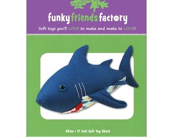 Shark Stuffed Toy Pattern - Funky Friends Factory designed by Pauline - Sammy Shark 4521 - DIY Pattern