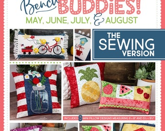 Bench Buddy - Summer Months KD 192 - SEWING Version -  Kimberbell Designs - DIY Project - Pillow forms sold separately