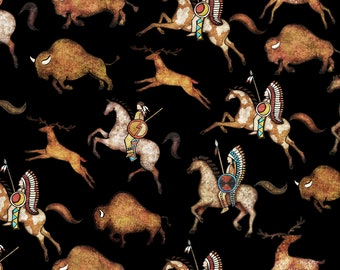 Southwest Fabric - Bison Run - Native Hunters Buffalo Deer - Southwest Soul  - Dan Morris Quilting Treasures - 26637 - Priced by the 1/2 yd
